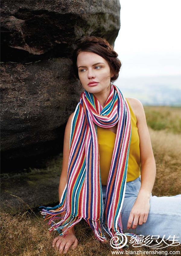 女士棒针条纹流苏围巾