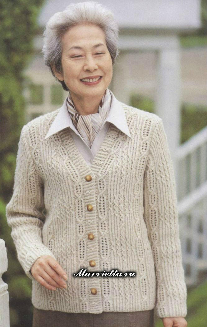 中老年棒针V领毛衣