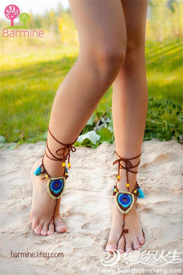 创意毛线编织脚饰
