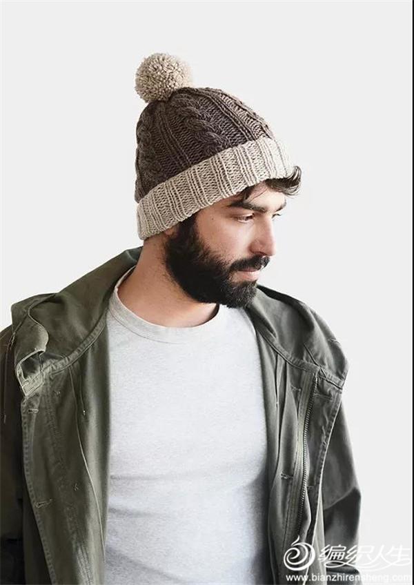 男士棒针绒球帽
