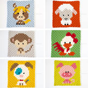 钩针卡通十二生肖配色图案(下)可用于编织配色斜纹毛毯