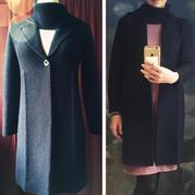 非常有型的连围巾女士棒针大衣