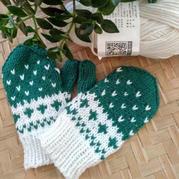 4股棉儿童棒针提花手套(含提花手套织法图解及过程图)