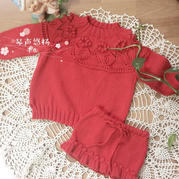 红果果 从上往下织经典红色奶棉女童棒针编织套装