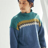 粗花呢男款棒针直袖款拼色提花毛衣