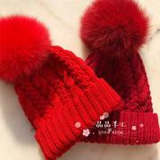 鸿运当头  儿童棒针红色毛球麻花毛线帽