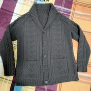 青果领男士棒针外套毛衣 无印良品细线加针大版