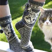 生动可爱猫咪图案 棒针毛衣图案图解