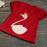 天鹅(2-2)儿童棒针卡通图案外搭套头毛衣编织视频