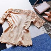 毛线球新款女士钩机结合夏日小衫