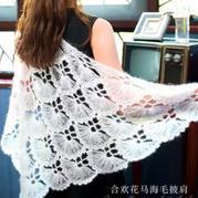 合欢花 女士钩针马海毛三角披肩编织视频