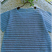 蓝莓 简约夏季女士钩针短袖衫