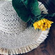 夏天最好的搭配 和纸编织女士钩针流苏帽子