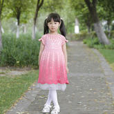 魔法公主裙(3-3)从领口往下钩儿童钩针育克圆肩公主裙编织视频