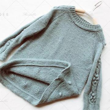 小丸子 2种织法仿INS款可盐可甜儿童棒针套头毛衣