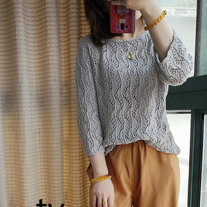 曲水流觞 女士棒针水波花样大圆领套头衫