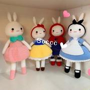 4种造型的可爱钩针公主兔编织图解
