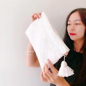简约优雅女士白色棉草流苏钩针包包