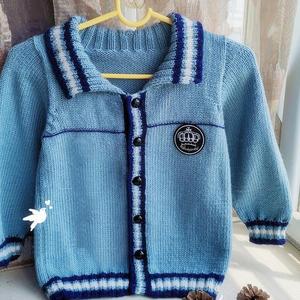 喵夫人大雪线编织儿童棒针翻领开衫毛衣