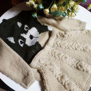 懒猫套裙 粗针织大雪儿童棒针卡通图案毛衣与麻花半身裙