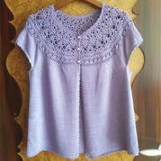 紫色圆肩钩织女士棒针实用开衫