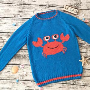 小雪编织海洋风儿童棒针螃蟹海马图案插肩套头毛衣