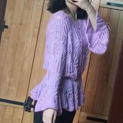 喵夫人家小雪编织女士棒针经典棕榈花荷叶摆套衫