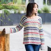 彩色条纹衫 女士钩针春秋套头毛衣编织视频教程
