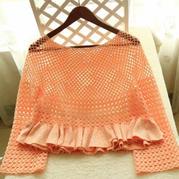 粉橙 木耳边女士钩织结合套衫