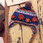 经典文艺彩色毛线儿童棒针提花护耳帽