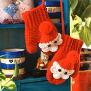趣味手编圣诞老人钩针手套编织视频
