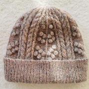 轻薄软暖真丝羊绒细支马海编织女士棒针卷边豆豆帽
