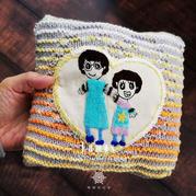 光阴 传统掇花绣DIY布贴+错觉编织双色棒针小收纳包