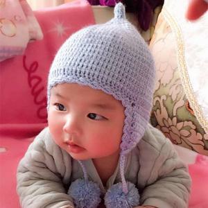 蓝泡泡 萌可爱钩针宝宝奶嘴毛球护耳帽