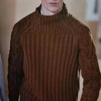 慢慢蓝 男穿很刚女穿也刚好的粗旷风肩袖扭花套头毛衣男士毛衣