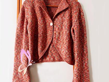 LK150机织云纹女士圆边水袖短版开衫