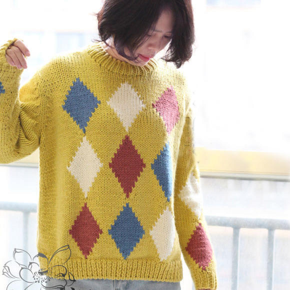 粗针织女士棒针菱格毛衣
