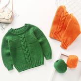 从上往下织宝宝棒针圆领毛衣 零基础织毛衣视频教程