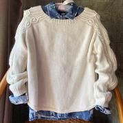 紫芊 兔羊毛混纺女士棒针圆摆套头毛衣