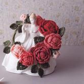 美丽钩针玫瑰花环编织图解