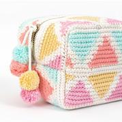 清新甜美钩针几何图案拉链包包
