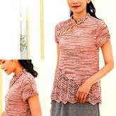 仿中式古典斜襟女士钩花立领棒针套头毛衣
