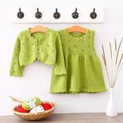云芽连衣裙套装(3-1)棒针儿童毛衣编织视频教程--开衫1