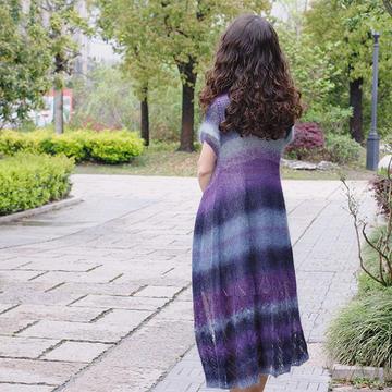 风之翼 女士棒针段染马海长开衫(第十届编织大赛作品)