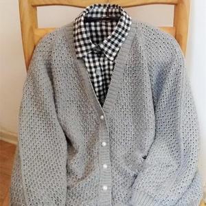 杂志款改版女式春款棒针真丝羊毛开衫