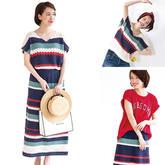 一套多穿的女士钩针条纹短袖半裙套装编织图解