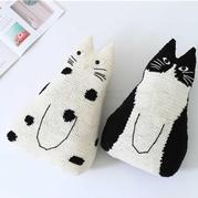 黑白猫抱枕 (黑猫款)创意手工毛线玩偶抱枕编织视频
