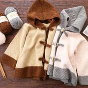 焦糖玛奇朵(2-2)中式风格儿童棒针连帽开衫外套毛衣编织视频