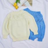 云叶(2-1)从上往下儿童棒针叶子花圆肩毛衣编织视频