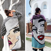 毛衣编织人物图案 超拉风的粗针粗线大面积图案2款